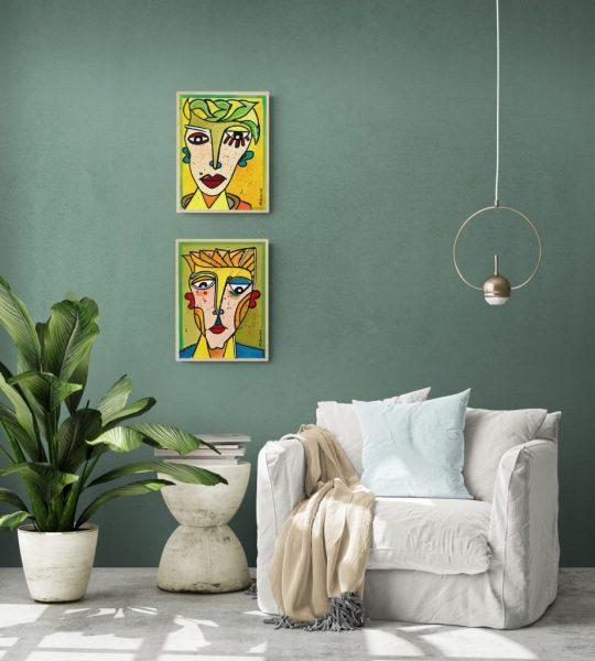 2 Gesichter - Acrylgemälde von Ali Görmez
