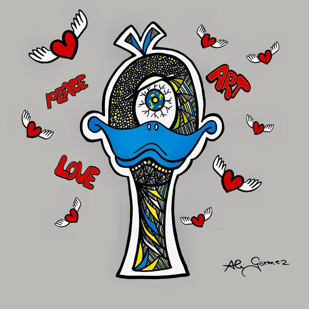 pop art character Focky, the duck