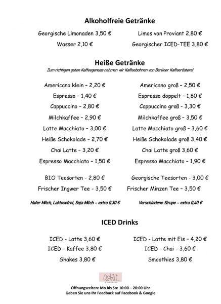 Speisekarte Art Café Osbili