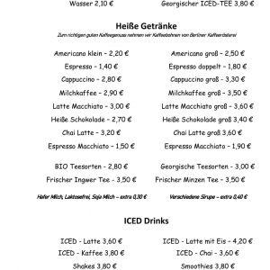 Getränkekarte Art Cafe Osbili