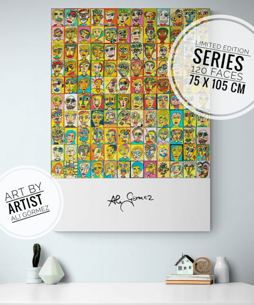 120 Faces Pop Art Poster XXL - Ali Görmez Pop Art Berlin